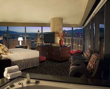 one of the bedrooms in our suite on elara las vegas 1 bedroom suite